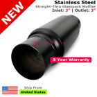 3 inches In Out Muffler Stainless Steel Black Straight Thru Glasspack 232825