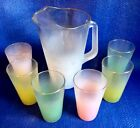FROSTED PITCHER + 6 TUMBLER GLASSES PASTEL GOLD RIM TRIM MID CENTURY VINTAGE