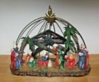 Christmas Nativity Figure Scene with Metal Scenery 2004 Holiday 14 x 11 indoor