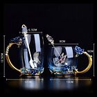 Glass Coffee Tea Cup Mug Present Gifts Women Decorated by Flower and Butterfly
