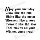 Unmounted Happy Birthday Poem Rubber Stamp saying text message quote new