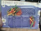 Divided Relish Dish - 5 part Fruits by Indiana Glass Co. OLD STOCK NEW IN BOX