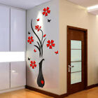 HOT DIY Vase Flower Tree Crystal Arcylic 3D Wall Stickers Decal Home Decor US ms