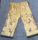 Antique CHINESE Golden Yellow Silk FLORAL EMBROIDERY Robe PANTS super Banding