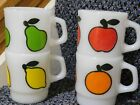 Nice Four Fire King Fruit Mugs Set Apple, Orange, Lemon, Pear