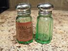 Vintage Hazel Atlas Green Depression Glass Shakers w/Label