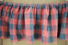Valance Antique French Vichy check small ruffle early fabric blue and red faded