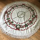 Vintage Christmas Holiday Tablecloth 61 Round White with Trees Ornaments Fringe