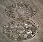 Set of 2 Clear Glass Relish Dishes Vintage Early American Star of David