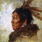 Howard Terpning HAWK FEATHERS Giclee Canvas Native American ARTIST PROOF AP24
