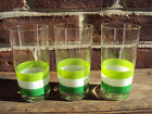 3 Georges Briard Mid-Century Green White Tri Striped Glasses Hi Ball signed