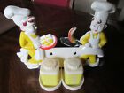 Vintage Plastic Chefs with Salt Pepper Shakers Counter top or Wall Mount