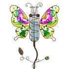 Butterfly Rain Gauge Garden Stake Hand Painted in Purple Made of glass and meta