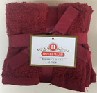Set of 6 Solid Color Terry Wash Cloths Dobby Border 100 Cotton Burgundy