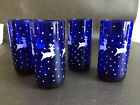 RARE Libbey Glasses Blue Cobat Glass White Reindeer Snow Chirstmas Set of 4