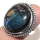 Y4774 Dichroic Glass 925 Sterling Silver Plated Ring 7.5