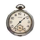 E Howard Art Deco 14k White Gold Pocket Watch Open Face