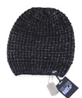 William Rast Women's Washed Waffle Black Beanie knit hat One Size