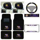 8pc NCAA LSU Tigers Car Truck Floor Mats Steering Wheel Cover Headrest Cover