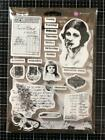 New PRIMA FINNABAIR Rubber Stamp cling BEAUTIFUL STORY vintage collage lady 20