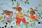 EASTER BUNNY TRIO UNDER SPRING TREE GERMAN TABLECLOTH WITH FANCY CUTWORK