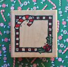 Christmas Whipper Snapper Candy Cane Holly Country Frame Wood Mount Rubber Stamp