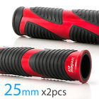 Wave handlebar grips black TPR + red metal trim 25mm x2 moped bike