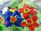 Vintage Studio Glass Paperweight Butterfly Red Blue Flowers Polished Pontil
