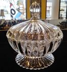 Carnival Glass Covered Lid Footed Candy Dish Clear w/ Gold Trim