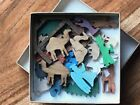 Colorful Mini Advent Nativity Set Hand Cut Wooden Christmas Miniature Toy