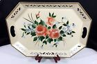 Vtg Large Tole Serving Tray Pilgrim Art HAND PAINTED ROSES 148 Higbee Co Metal
