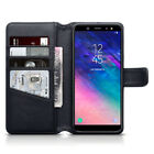 Genuine Leather Wallet Case for Samsung Galaxy A6 2018 Black