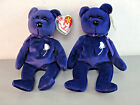 TY BEANIE BABY BEAR DIANA PRINCESS WALES MEMORIAL FUND ROYAL REGAL PURPLE LOT 2