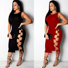 Women Sleeveless Crew Neck Solid Bodycon Wrapped Hip Hollow Bandage Party Dress