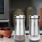 2pcs Elegant Stainless Steel Salt and Pepper Shakers Set with Clear Glass Bottom