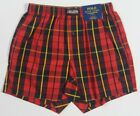 Ralph Lauren Classic Fit Red Yellow Plaid Boxer Shorts Black Pony NWT
