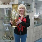 MURANO ITALIAN HUGE LARGE 24K GOLD AND HAND PAINTED FLOWERS