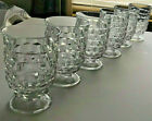 6 VINTAGE INDIANA GLASS ,WHITEHALL/ CUBIST PATTERN JUICE GLASSES  CRYSTAL CLEAR