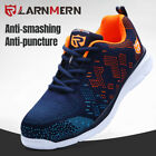 LARNMERN Steel Head Shoes Mens Work Safety Sneakers Reflective Strips Light