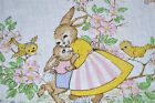MOMMY BUNNYs WARM EMBRACE AMONG SPRING BIRDS VTG GERMAN EASTER PRINT TABLECLOTH