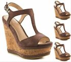 Ladies Womens Peep Toe Platform High Heel Sandles Shoes Summer Vintage Brown US9