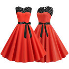 Womens Vintage Evening Party Cocktail Formal Skater Lace 50s 60s Hepburn Dress