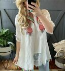 1X 2X 3X Womens Plus Size Embroidered White Floral Button Up Tunic Blouse Top