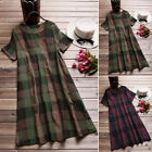 ZANZEA Women Short Sleeve Plaid Check Long Shirt Dress Round Neck Midi Dress