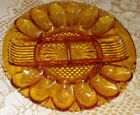 Vintage Amber Indiana Glass Deviled Egg Relish Oyster Plate Vegetable Snack Tray