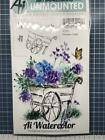 New ART IMPRESSIONS Rubber Stamp MINI watercolor FLOWER CART cling set