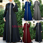 Islamic Muslim Long Abaya Robe Long Sleeve Maxi Female Slim Party Elegant Dress
