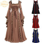 Vintage Gothic Medieval Dress Maxi Halloween Cosplay Retro Long Gown Plus Size
