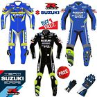 NEW SUZUKI ECSTAR GSXR MOTORBIKE MOTORCYCLE RACING LEATHER SUIT WITH FREE GLOVE