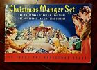vintage Christmas nativity Manger set cut out cardboard no 743 litho USA box
